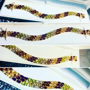 925 Sterling Tennis Bracelet with 98 Gem Stones